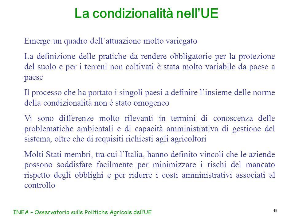 INEA – Osservatorio sulle Politiche Agricole dellUE 49 La condizionalità nellUE Emerge un quadro dellattuazione molto variegato La definizione delle p