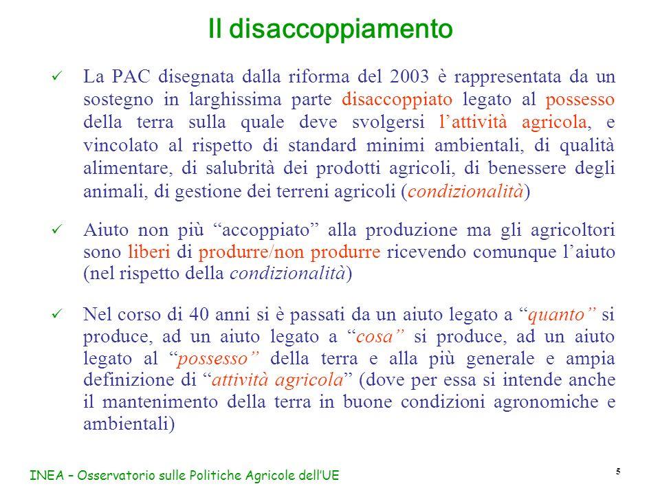 INEA – Osservatorio sulle Politiche Agricole dellUE 46 La riforma Fischler porta ad un rafforzamento della condizionalità Ogni agricoltore beneficiario di pagamenti diretti è tenuto a: rispettare i criteri di gestione obbligatori (CGO) (norme già esistenti) mantenere i terreni agricoli in buone condizioni agronomiche a ambientali (BCAA) (nuove norme) Gli Stati Membri sono obbligati ad applicare la condizionalità I requisiti (standard) devono essere definiti dalle autorità nazionali (regionali) competenti che devono stabilire anche efficaci procedure di controllo e sanzione Il mancato rispetto della condizionalità comporta la riduzione degli aiuti fino al loro completo annullamento La condizionalità nella riforma Fischler