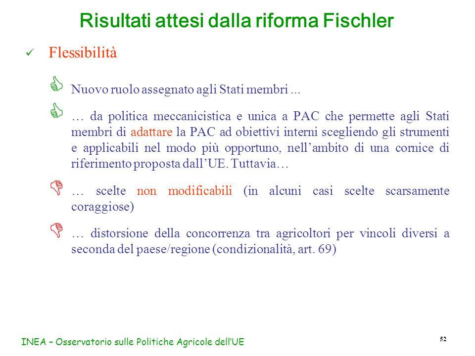 INEA – Osservatorio sulle Politiche Agricole dellUE 52 Flessibilità Nuovo ruolo assegnato agli Stati membri... … da politica meccanicistica e unica a