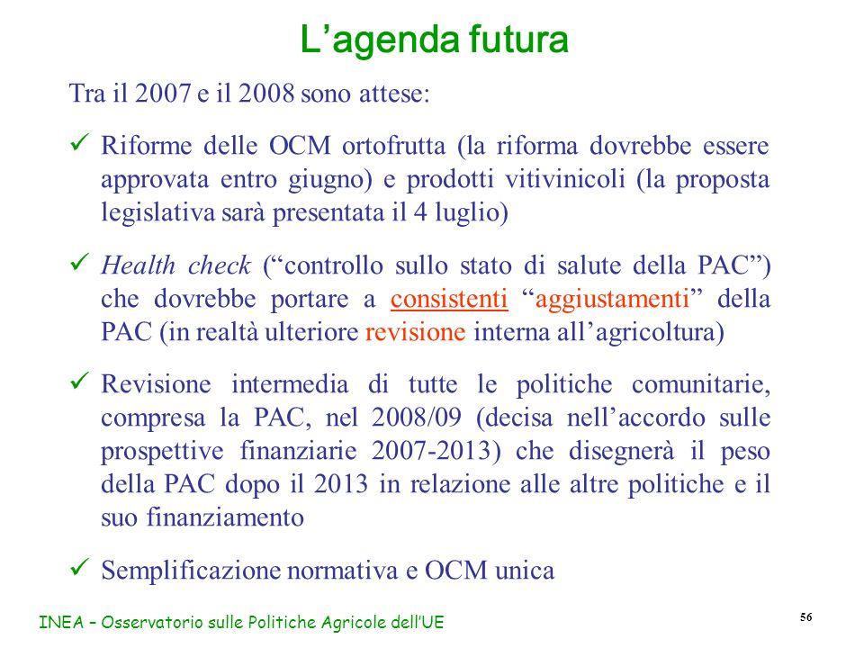 INEA – Osservatorio sulle Politiche Agricole dellUE 56 Tra il 2007 e il 2008 sono attese: Riforme delle OCM ortofrutta (la riforma dovrebbe essere app