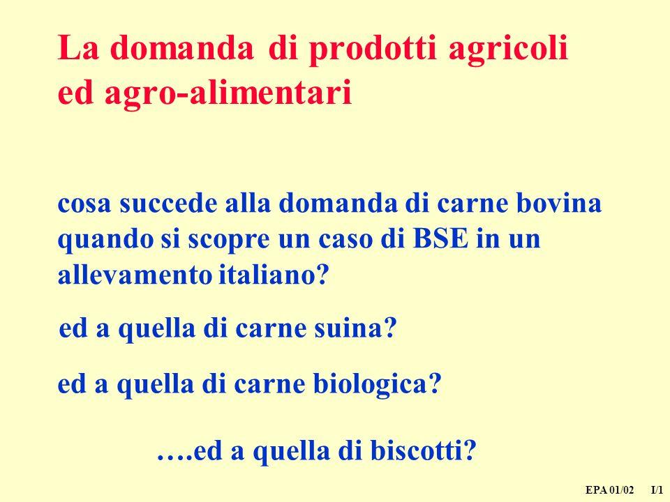 EPA 01/02 I/1 La domanda di prodotti agricoli ed agro-alimentari cosa succede alla domanda di carne bovina quando si scopre un caso di BSE in un allevamento italiano.