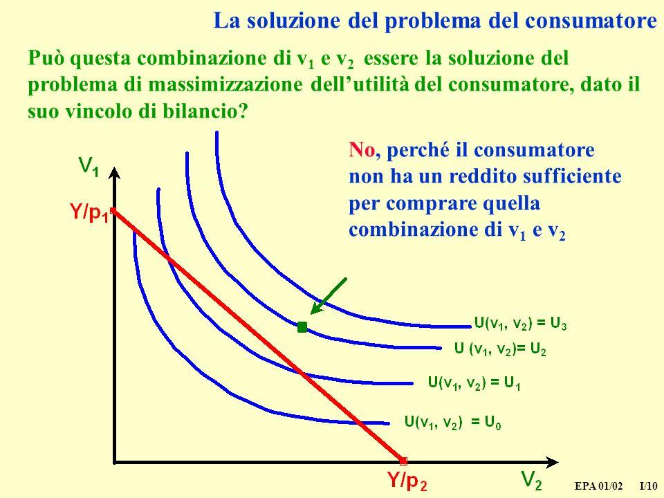 EPA 01/02 I/10 La soluzione del problema del consumatore Può questa combinazione di v 1 e v 2 essere la soluzione del problema di massimizzazione dellutilità del consumatore, dato il suo vincolo di bilancio.