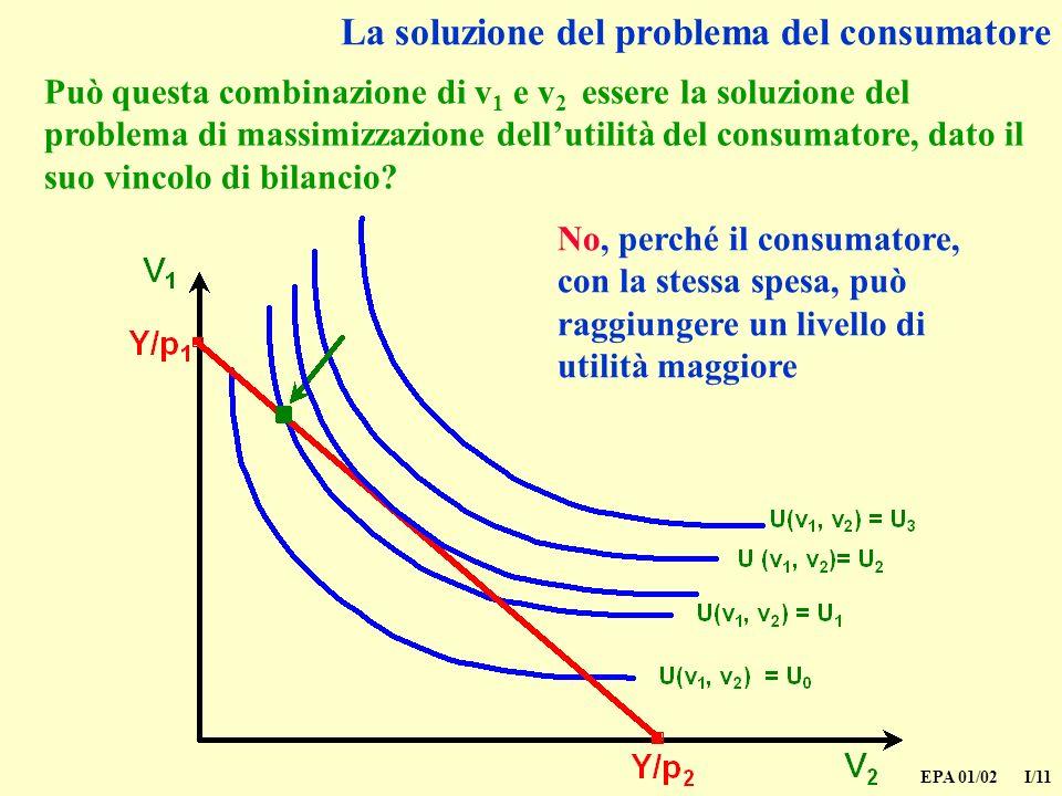 EPA 01/02 I/11 La soluzione del problema del consumatore Può questa combinazione di v 1 e v 2 essere la soluzione del problema di massimizzazione dellutilità del consumatore, dato il suo vincolo di bilancio.