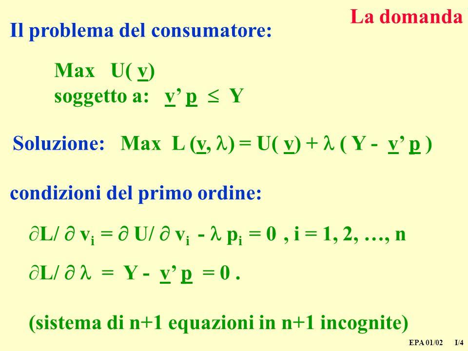 EPA 01/02 I/4 La domanda Il problema del consumatore: Soluzione: Max L (v, ) = U( v) + ( Y - v p ) Max U( v) soggetto a: v p Y condizioni del primo ordine: L/ v i = U/ v i - p i = 0, i = 1, 2, …, n L/ = Y - v p = 0.