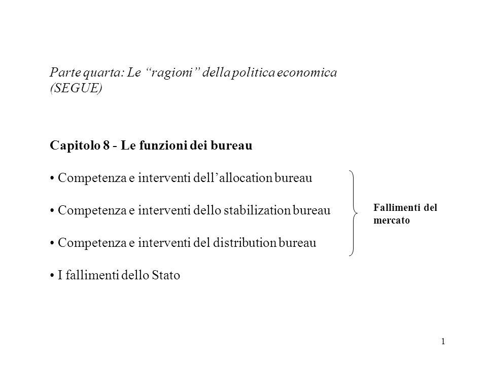 2 Sistema di mercato efficienza equità Allocation bureau Stabilization bureau Distribution bureau
