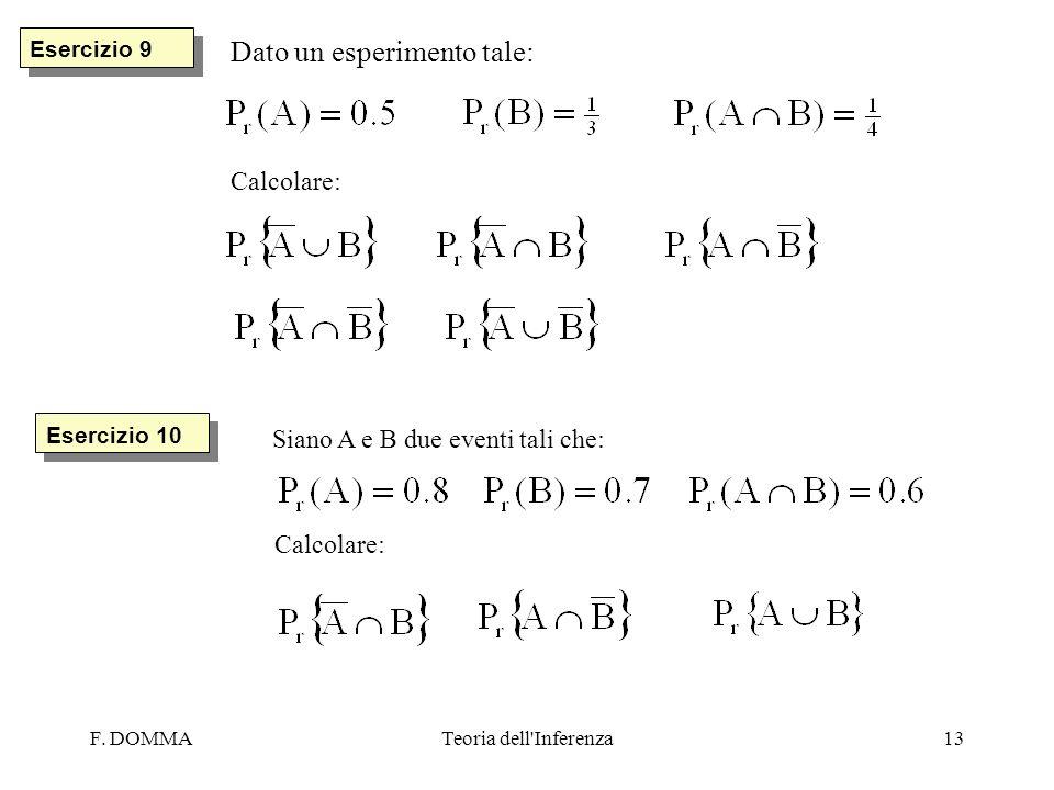 F. DOMMATeoria dell'Inferenza13 Esercizio 9 Dato un esperimento tale: Calcolare: Esercizio 10 Siano A e B due eventi tali che: Calcolare: