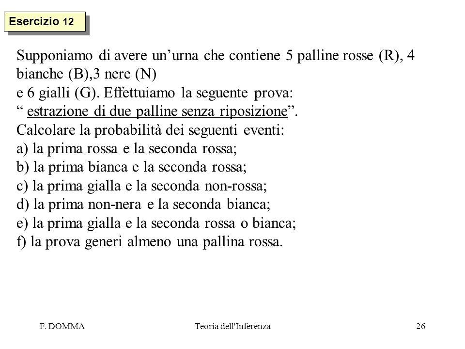 F. DOMMATeoria dell'Inferenza26 Esercizio 12 Supponiamo di avere unurna che contiene 5 palline rosse (R), 4 bianche (B),3 nere (N) e 6 gialli (G). Eff