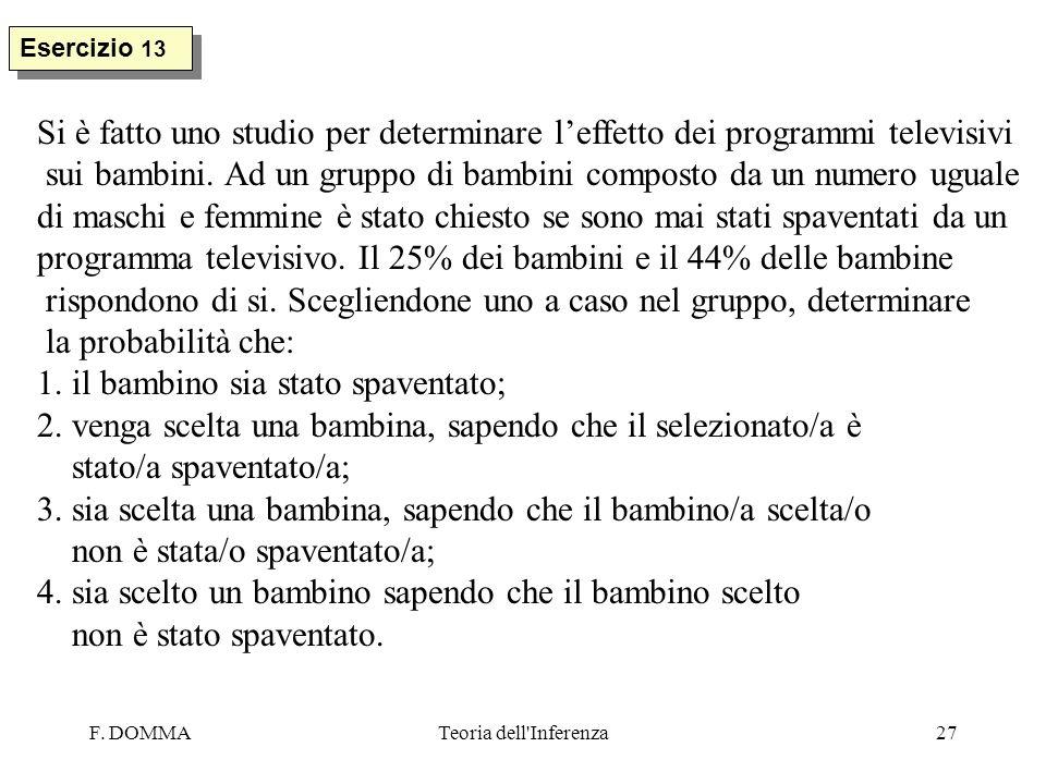 F. DOMMATeoria dell'Inferenza27 Esercizio 13 Si è fatto uno studio per determinare leffetto dei programmi televisivi sui bambini. Ad un gruppo di bamb