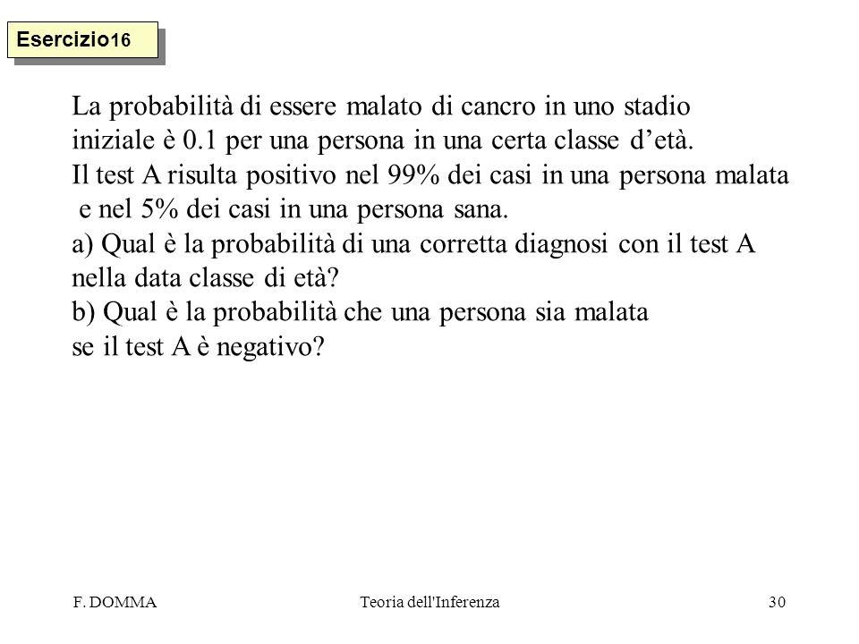 F. DOMMATeoria dell'Inferenza30 Esercizio 16 La probabilità di essere malato di cancro in uno stadio iniziale è 0.1 per una persona in una certa class