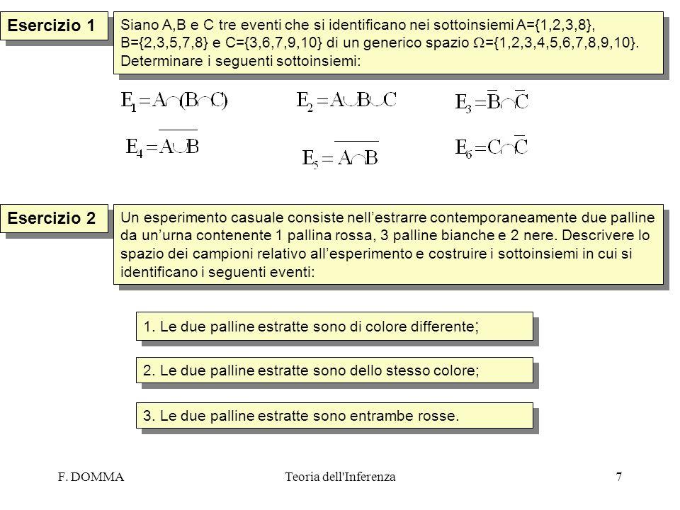 F. DOMMATeoria dell'Inferenza7 Esercizio 1 Esercizio 2 Siano A,B e C tre eventi che si identificano nei sottoinsiemi A={1,2,3,8}, B={2,3,5,7,8} e C={3