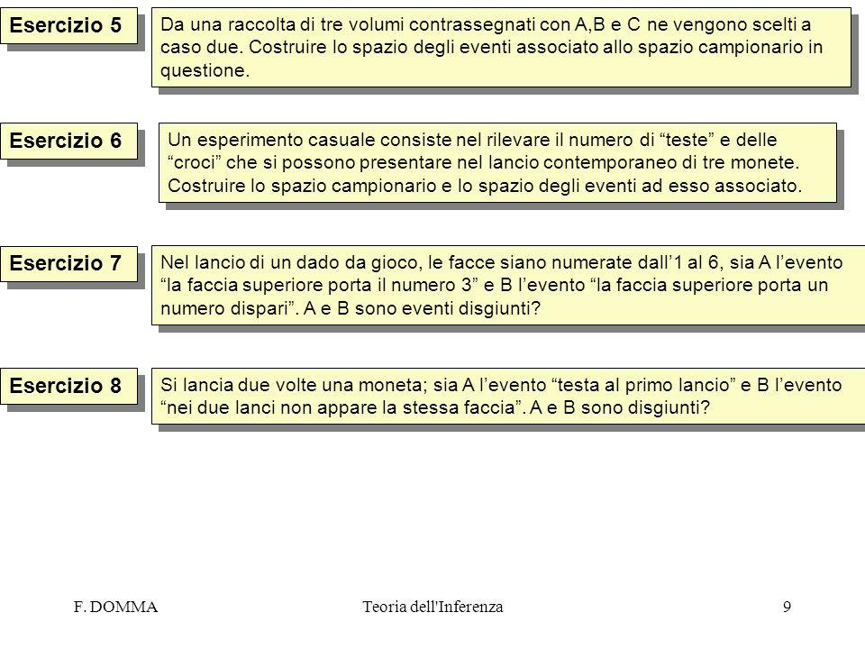 F. DOMMATeoria dell'Inferenza9 Esercizio 5 Esercizio 7 Da una raccolta di tre volumi contrassegnati con A,B e C ne vengono scelti a caso due. Costruir