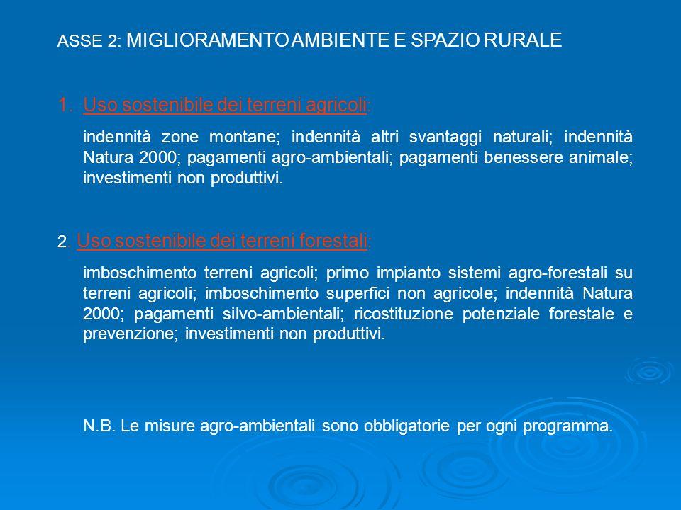 ASSE 2: MIGLIORAMENTO AMBIENTE E SPAZIO RURALE 1.Uso sostenibile dei terreni agricoli : indennità zone montane; indennità altri svantaggi naturali; in