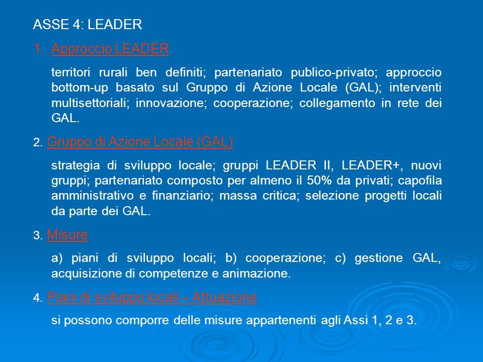 ASSE 4: LEADER 1.Approccio LEADER territori rurali ben definiti; partenariato publico-privato; approccio bottom-up basato sul Gruppo di Azione Locale