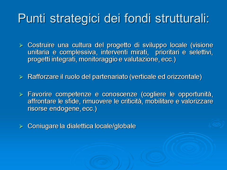 Punti strategici dei fondi strutturali: Costruire una cultura del progetto di sviluppo locale (visione unitaria e complessiva, interventi mirati, prio