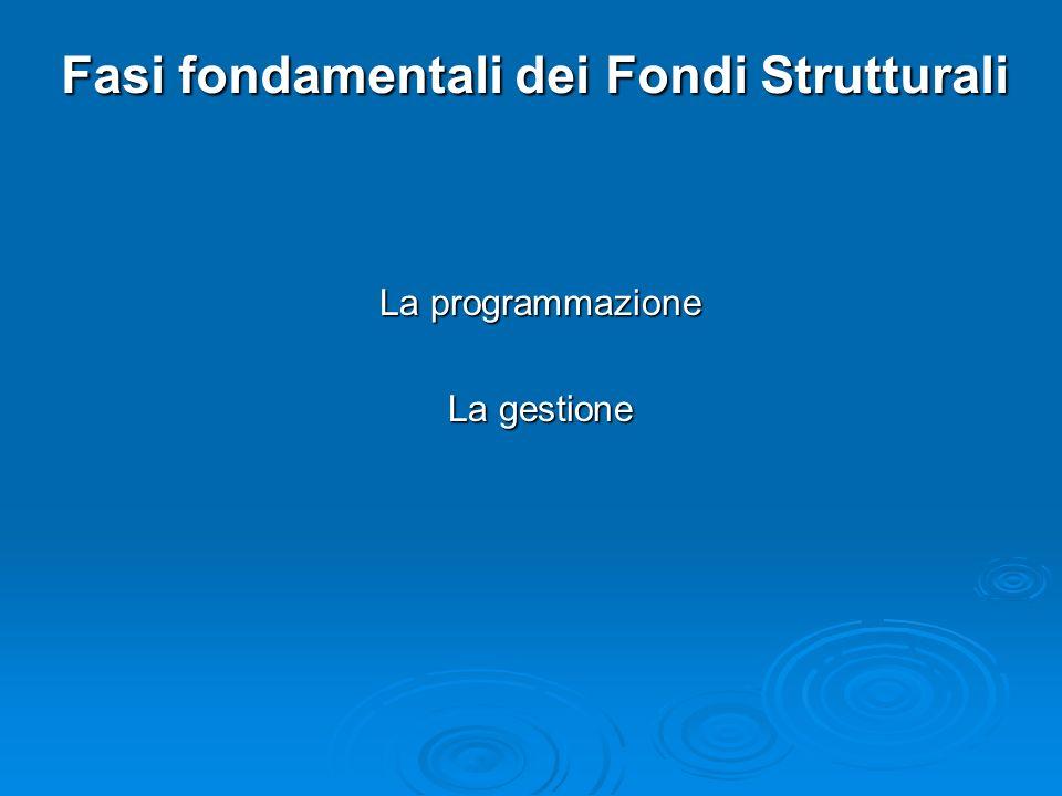 Fasi fondamentali dei Fondi Strutturali La programmazione La gestione