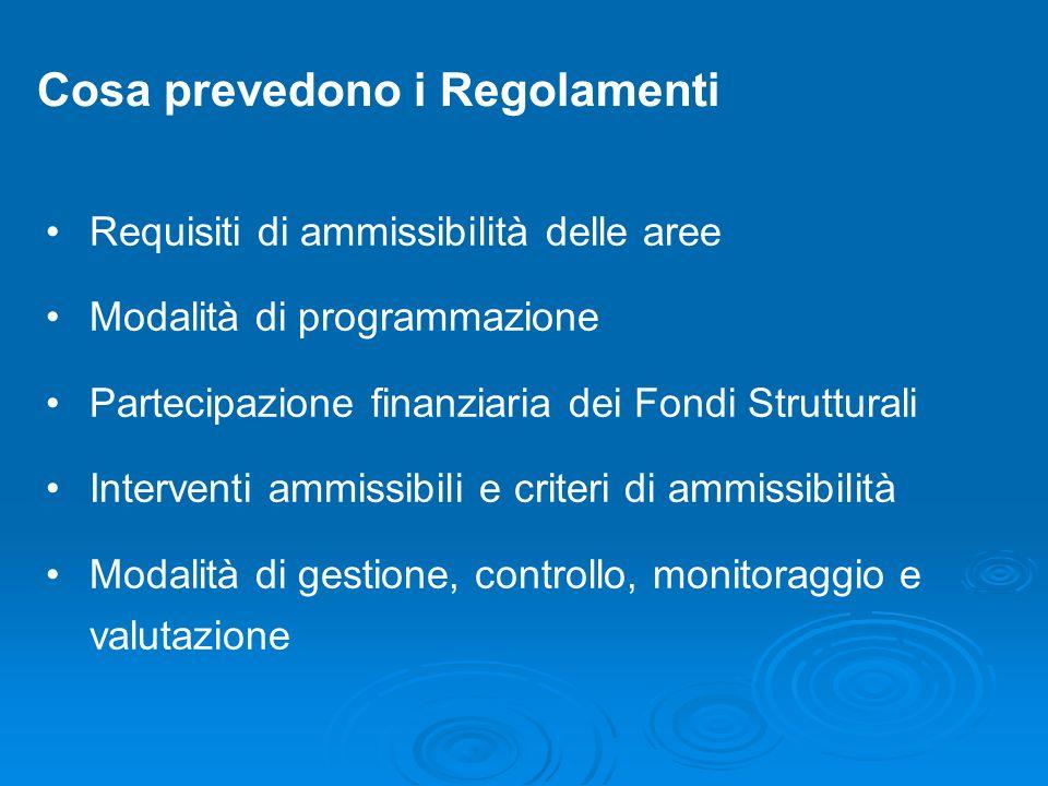 Cosa prevedono i Regolamenti Requisiti di ammissibilità delle aree Modalità di programmazione Partecipazione finanziaria dei Fondi Strutturali Interve
