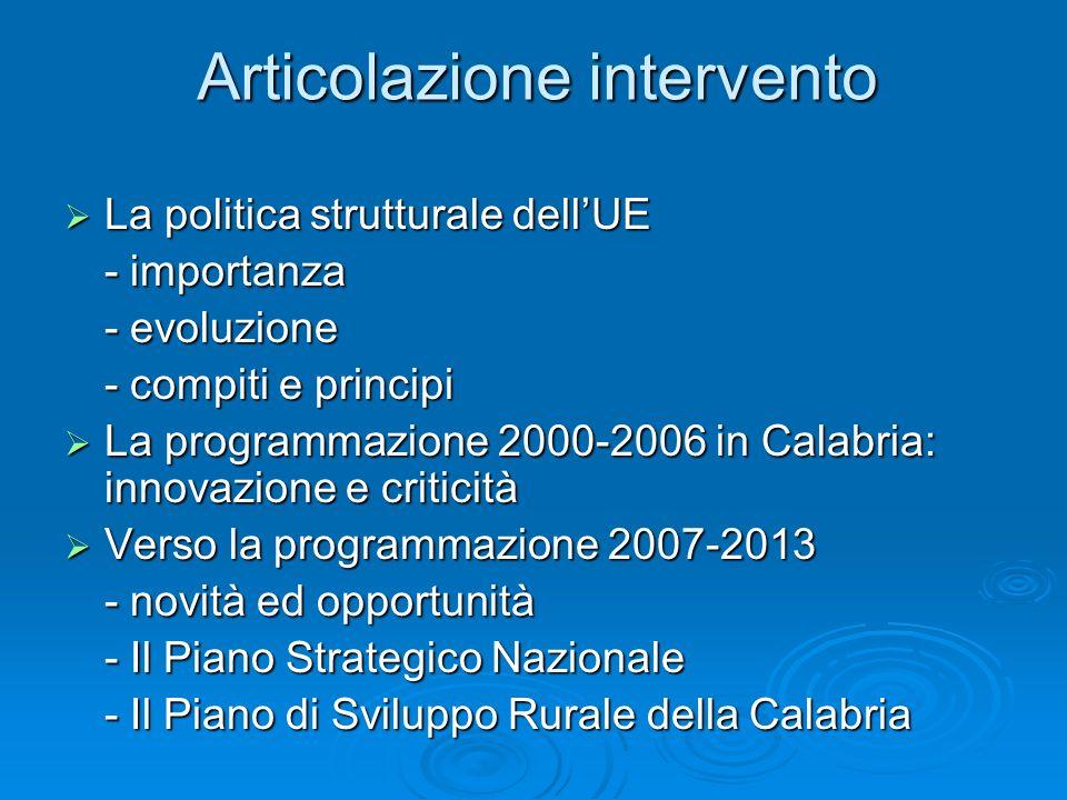 Articolazione intervento La politica strutturale dellUE La politica strutturale dellUE - importanza - evoluzione - compiti e principi La programmazion