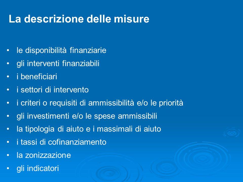 La descrizione delle misure le disponibilità finanziarie gli interventi finanziabili i beneficiari i settori di intervento i criteri o requisiti di am