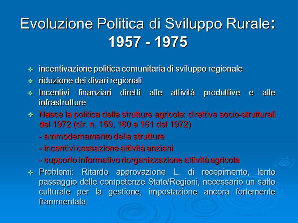 Evoluzione Politica di Sviluppo Rurale : 1957 - 1975 incentivazione politica comunitaria di sviluppo regionale incentivazione politica comunitaria di