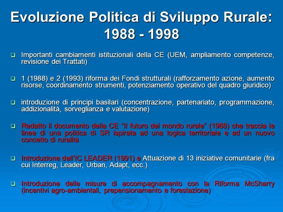 Evoluzione Politica di Sviluppo Rurale : 1988 - 1998 Importanti cambiamenti istituzionali della CE (UEM, ampliamento competenze, revisione dei Trattat