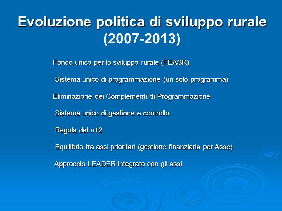 Evoluzione politica di sviluppo rurale (2007-2013) Fondo unico per lo sviluppo rurale (FEASR) Sistema unico di programmazione (un solo programma) Sist