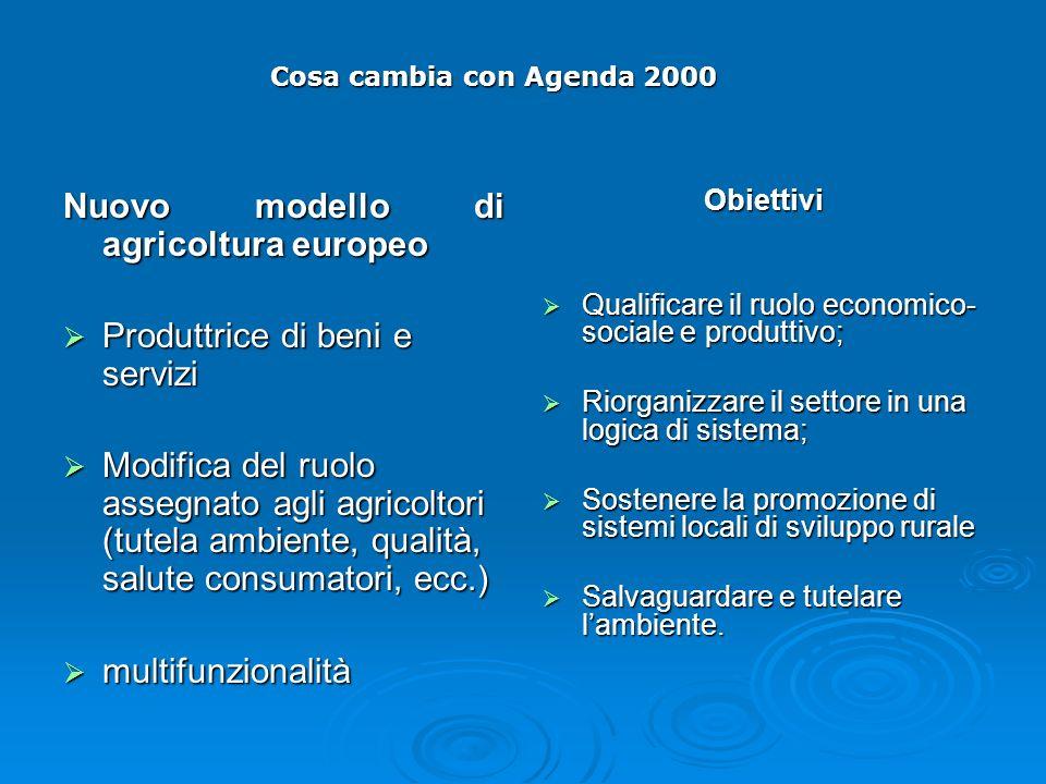 Nuovo modello di agricoltura europeo Produttrice di beni e servizi Produttrice di beni e servizi Modifica del ruolo assegnato agli agricoltori (tutela