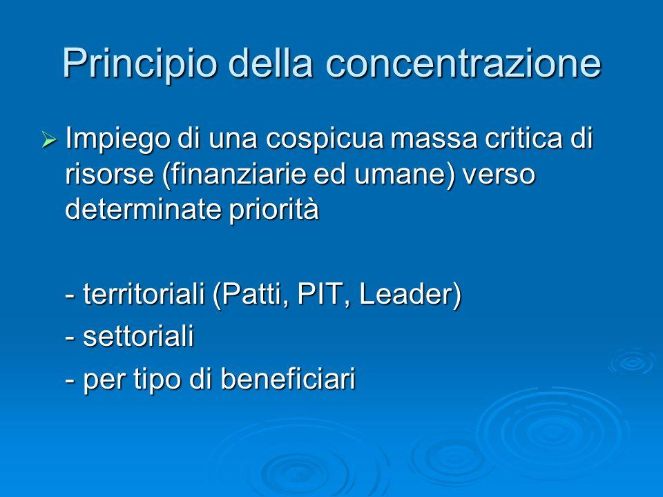 Principio della concentrazione Impiego di una cospicua massa critica di risorse (finanziarie ed umane) verso determinate priorità Impiego di una cospi