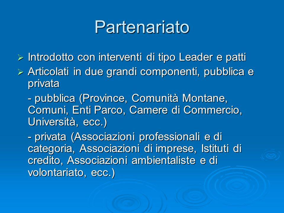 Partenariato Introdotto con interventi di tipo Leader e patti Introdotto con interventi di tipo Leader e patti Articolati in due grandi componenti, pu