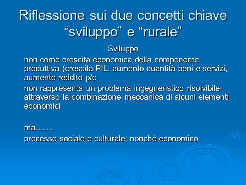 Riflessione sui due concetti chiave sviluppo e rurale Sviluppo non come crescita economica della componente produttiva (crescita PIL, aumento quantità