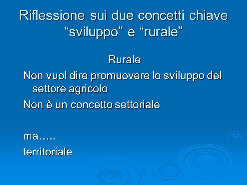 Riflessione sui due concetti chiave sviluppo e rurale Rurale Non vuol dire promuovere lo sviluppo del settore agricolo Non è un concetto settoriale ma