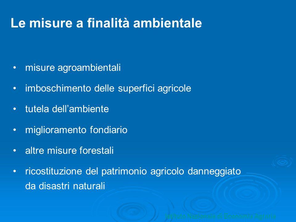 Le misure a finalità ambientale misure agroambientali imboschimento delle superfici agricole tutela dellambiente miglioramento fondiario altre misure