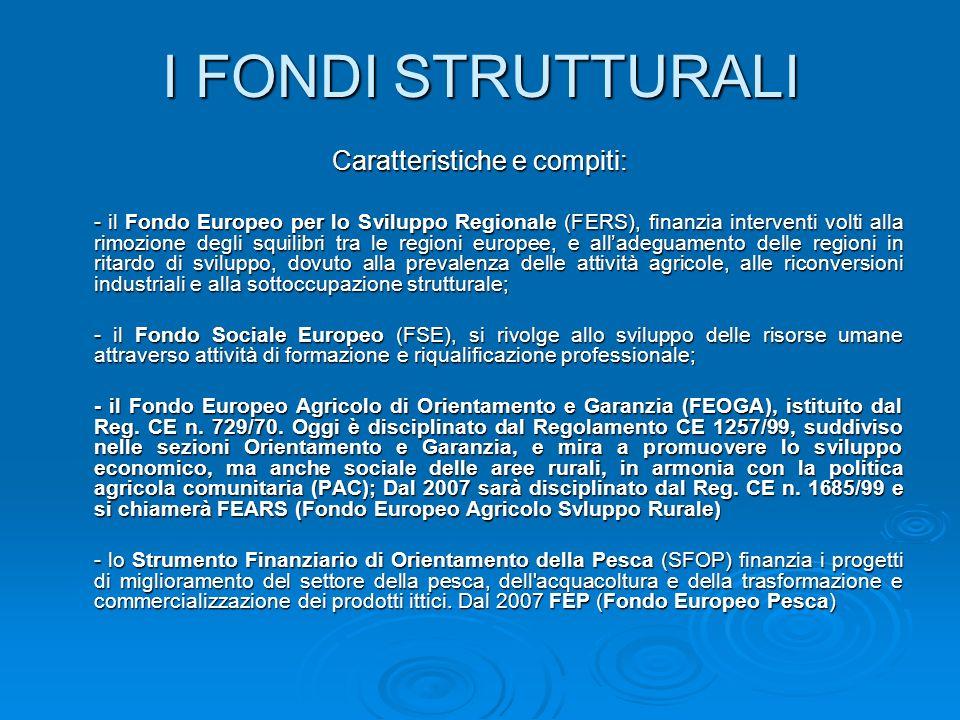 I FONDI STRUTTURALI Caratteristiche e compiti: - il Fondo Europeo per lo Sviluppo Regionale (FERS), finanzia interventi volti alla rimozione degli squ