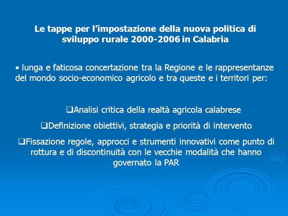 Le tappe per limpostazione della nuova politica di sviluppo rurale 2000-2006 in Calabria lunga e faticosa concertazione tra la Regione e le rappresent