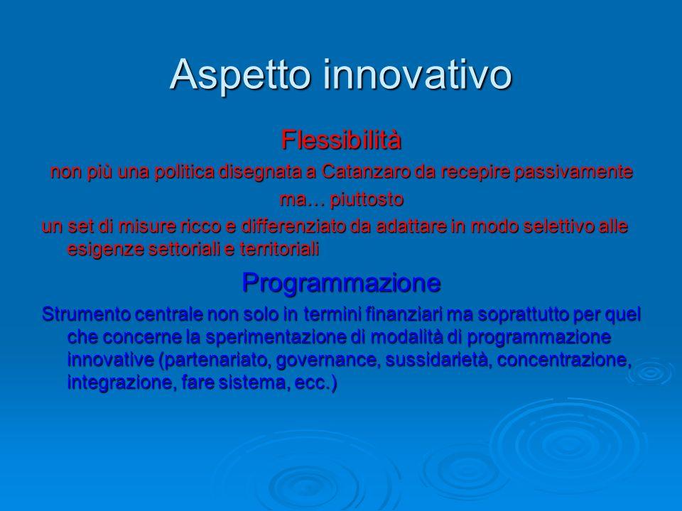 Aspetto innovativo Flessibilità non più una politica disegnata a Catanzaro da recepire passivamente ma… piuttosto un set di misure ricco e differenzia