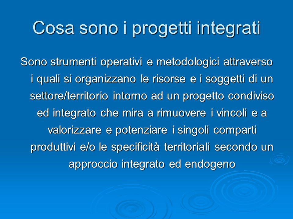 Cosa sono i progetti integrati Sono strumenti operativi e metodologici attraverso i quali si organizzano le risorse e i soggetti di un settore/territo