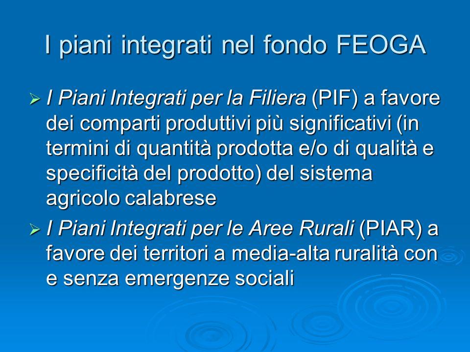 I piani integrati nel fondo FEOGA I Piani Integrati per la Filiera (PIF) a favore dei comparti produttivi più significativi (in termini di quantità pr