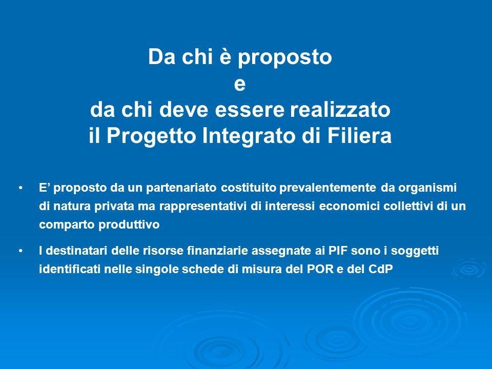 Da chi è proposto e da chi deve essere realizzato il Progetto Integrato di Filiera E proposto da un partenariato costituito prevalentemente da organis