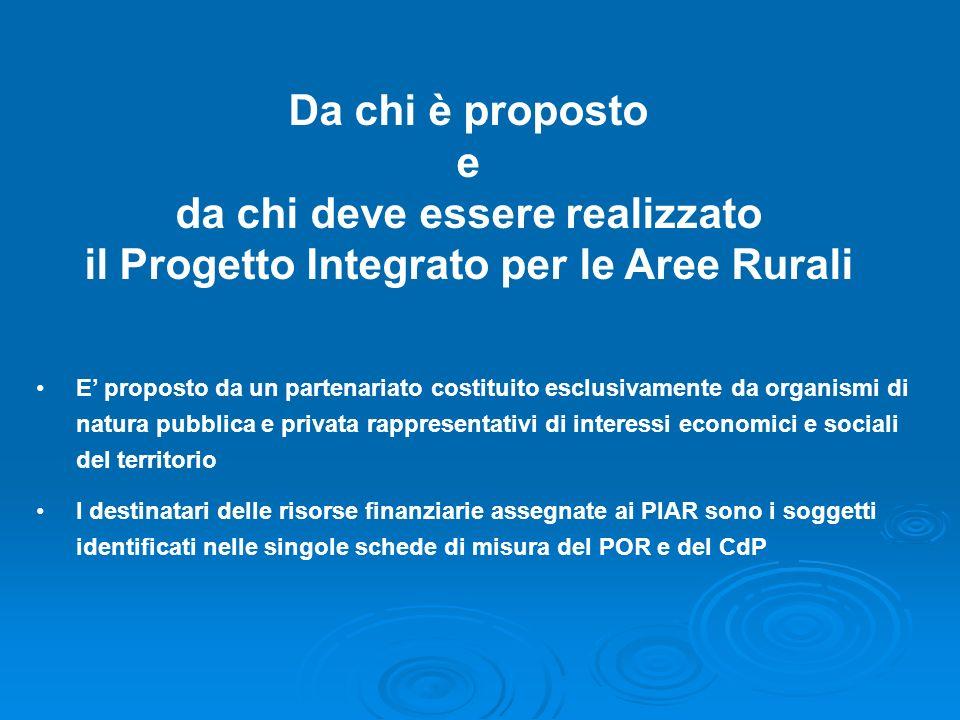Da chi è proposto e da chi deve essere realizzato il Progetto Integrato per le Aree Rurali E proposto da un partenariato costituito esclusivamente da