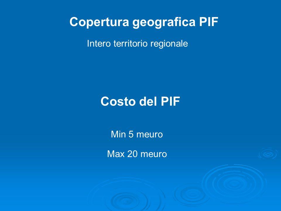 Copertura geografica PIF Intero territorio regionale Costo del PIF Min 5 meuro Max 20 meuro