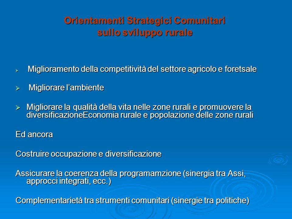 Orientamenti Strategici Comunitari sullo sviluppo rurale Miglioramento della competitività del settore agricolo e foretsale Miglioramento della compet
