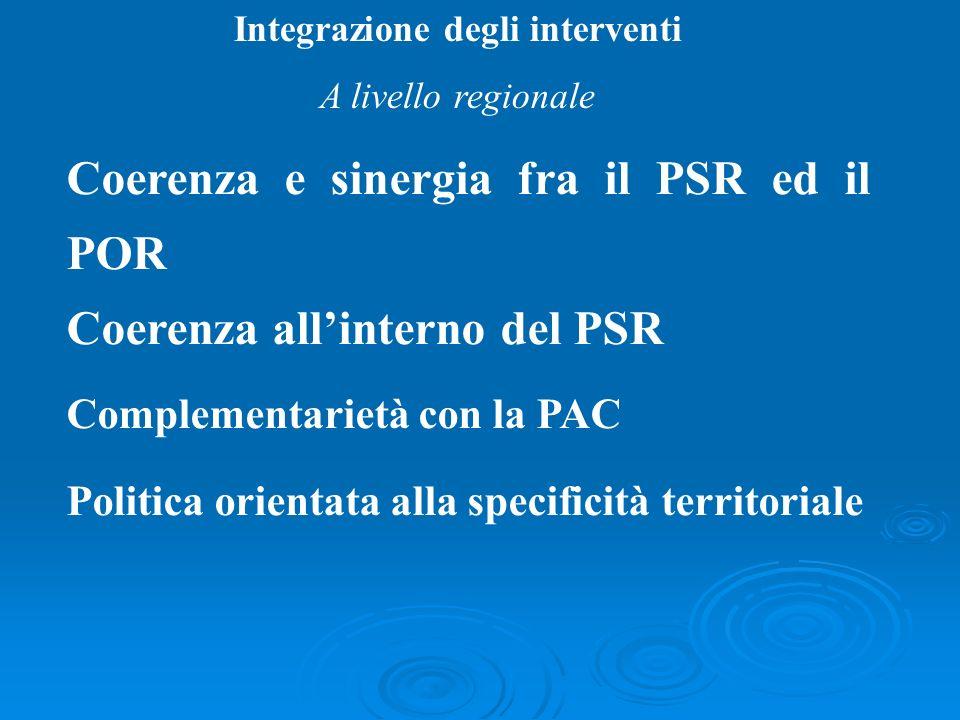 Integrazione degli interventi A livello regionale Coerenza e sinergia fra il PSR ed il POR Coerenza allinterno del PSR Complementarietà con la PAC Pol
