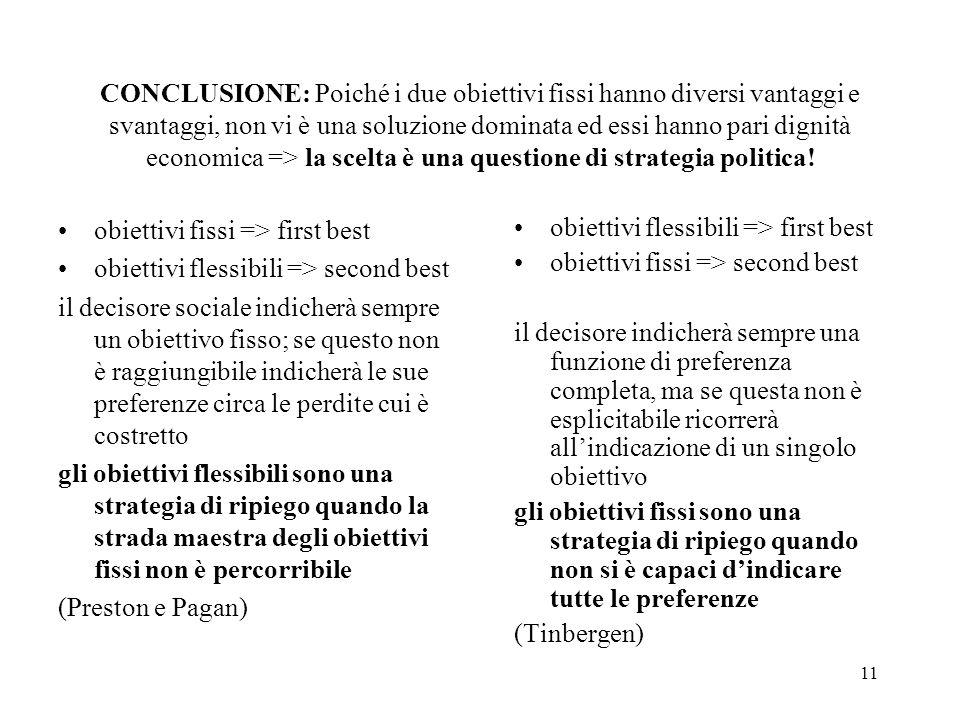 11 CONCLUSIONE: Poiché i due obiettivi fissi hanno diversi vantaggi e svantaggi, non vi è una soluzione dominata ed essi hanno pari dignità economica => la scelta è una questione di strategia politica.
