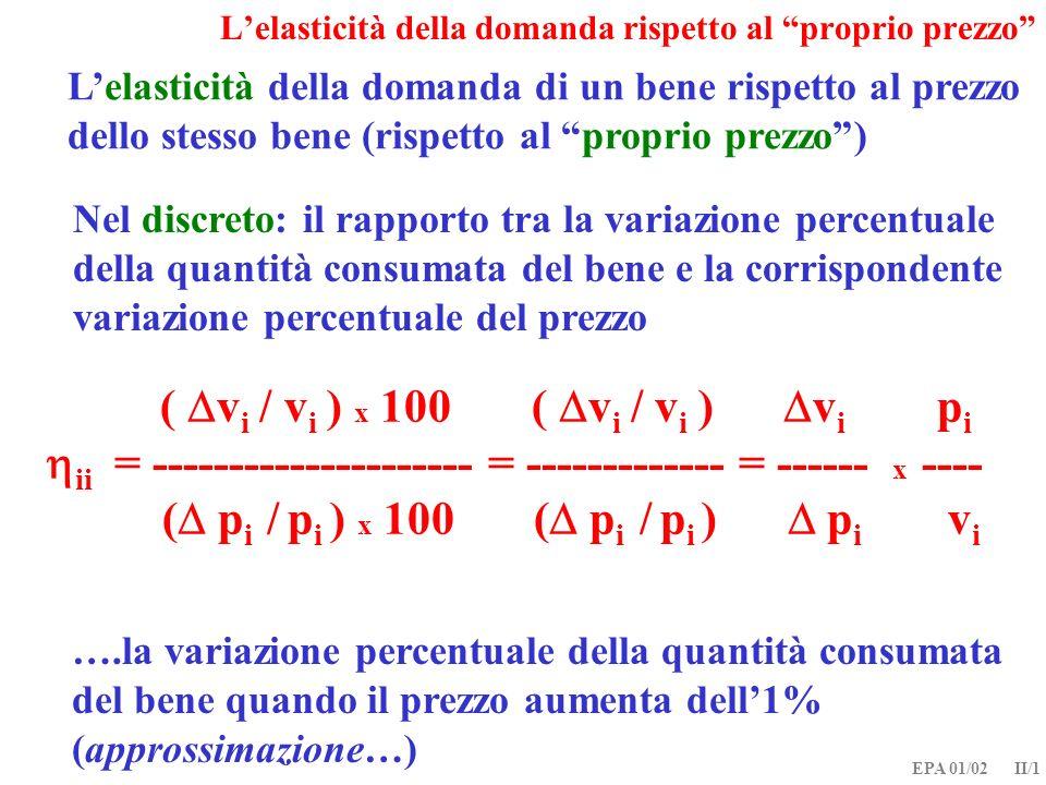 EPA 01/02 II/1 Lelasticità della domanda rispetto al proprio prezzo Lelasticità della domanda di un bene rispetto al prezzo dello stesso bene (rispett