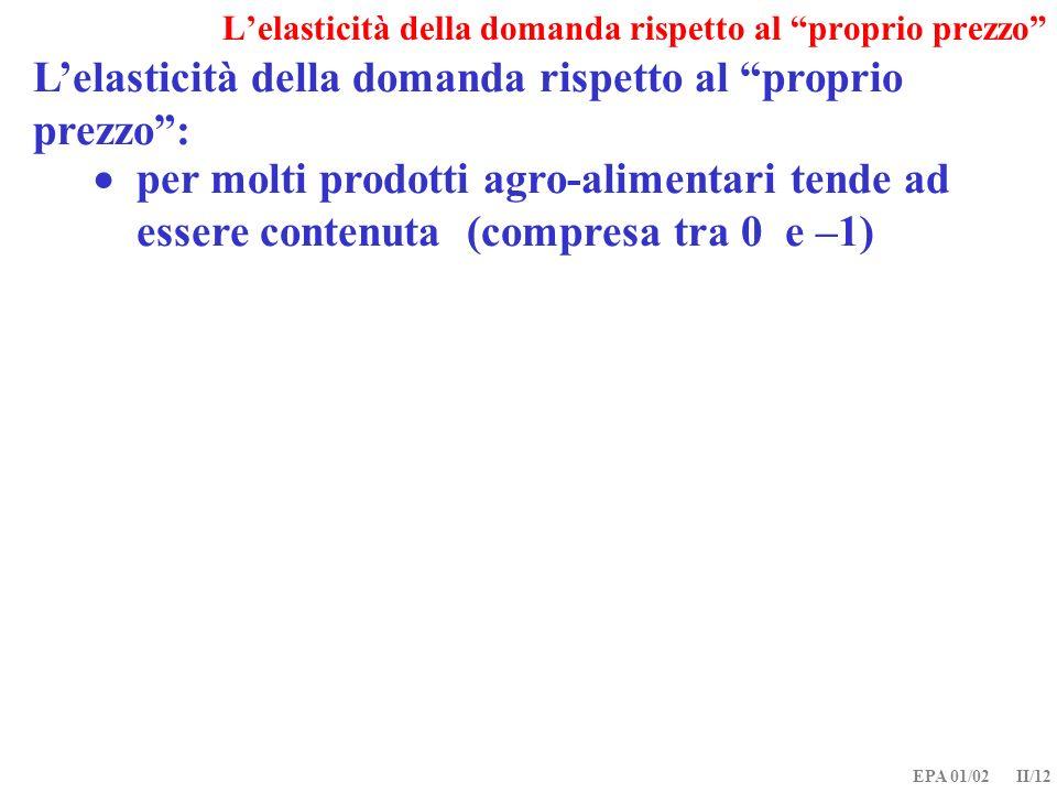 EPA 01/02 II/12 Lelasticità della domanda rispetto al proprio prezzo: per molti prodotti agro-alimentari tende ad essere contenuta (compresa tra 0 e –