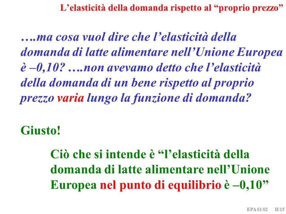 EPA 01/02 II/15 ….ma cosa vuol dire che lelasticità della domanda di latte alimentare nellUnione Europea è –0,10? ….non avevamo detto che lelasticità