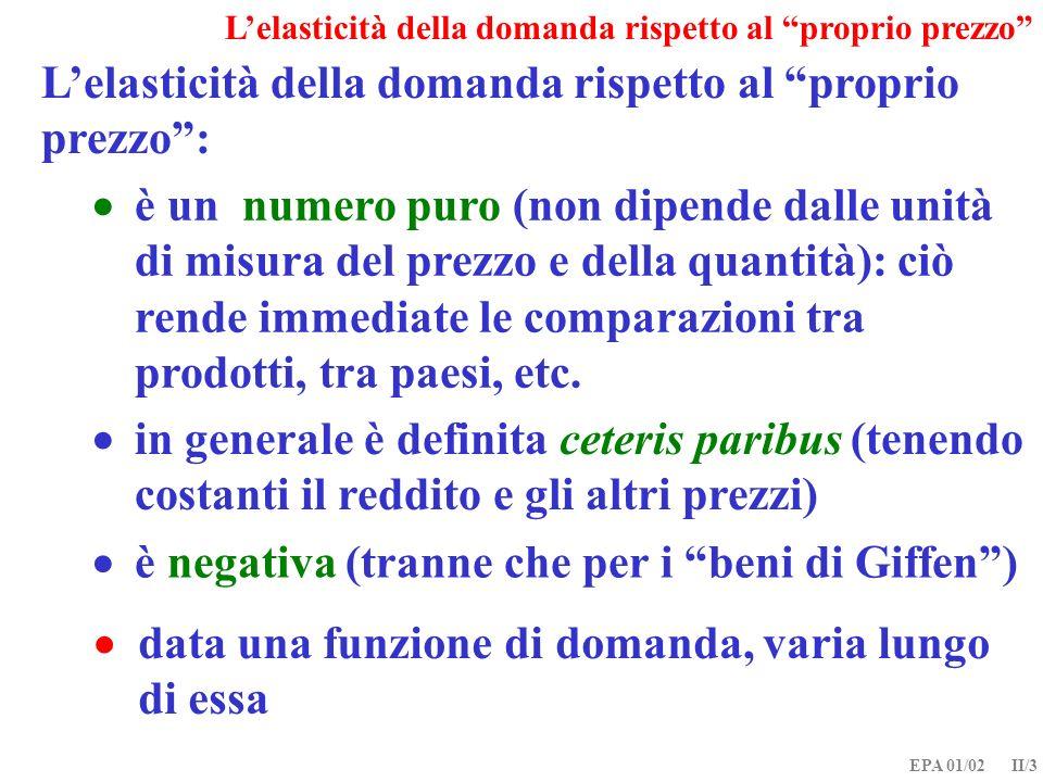 EPA 01/02 II/3 Lelasticità della domanda rispetto al proprio prezzo: è negativa (tranne che per i beni di Giffen) data una funzione di domanda, varia