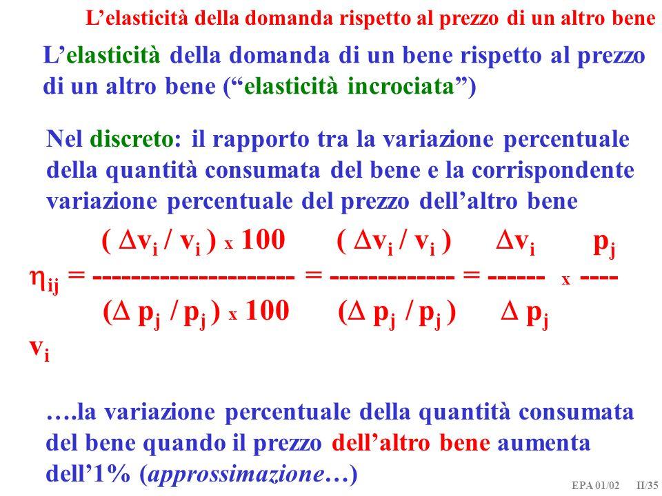 EPA 01/02 II/35 Lelasticità della domanda rispetto al prezzo di un altro bene Lelasticità della domanda di un bene rispetto al prezzo di un altro bene