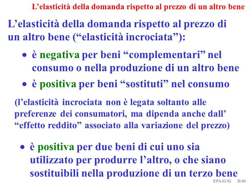 EPA 01/02 II/40 Lelasticità della domanda rispetto al prezzo di un altro bene (elasticità incrociata): è negativa per beni complementari nel consumo o