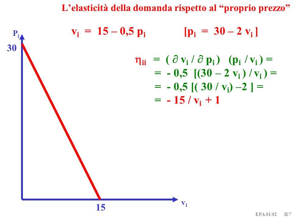 EPA 01/02 II/7 v i = 15 – 0,5 p i [p i = 30 – 2 v i ] PiPi ii = ( v i / p i ) (p i / v i ) = = - 0,5 [(30 – 2 v i ) / v i ) = = - 0,5 [( 30 / v i ) –2