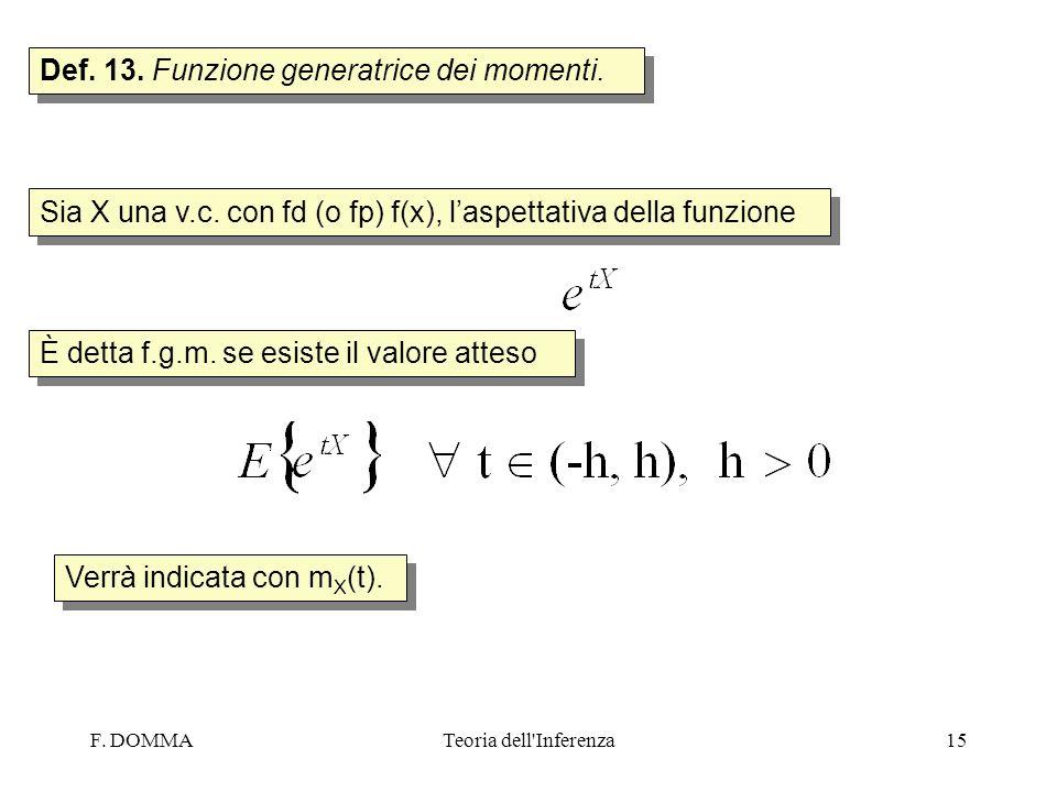 F. DOMMATeoria dell'Inferenza15 Def. 13. Funzione generatrice dei momenti. Sia X una v.c. con fd (o fp) f(x), laspettativa della funzione È detta f.g.
